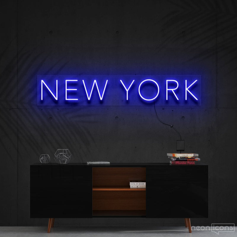 """New York"" Neon Sign 60cm (2ft) / Blue / Cut to Shape by Neon Icons"