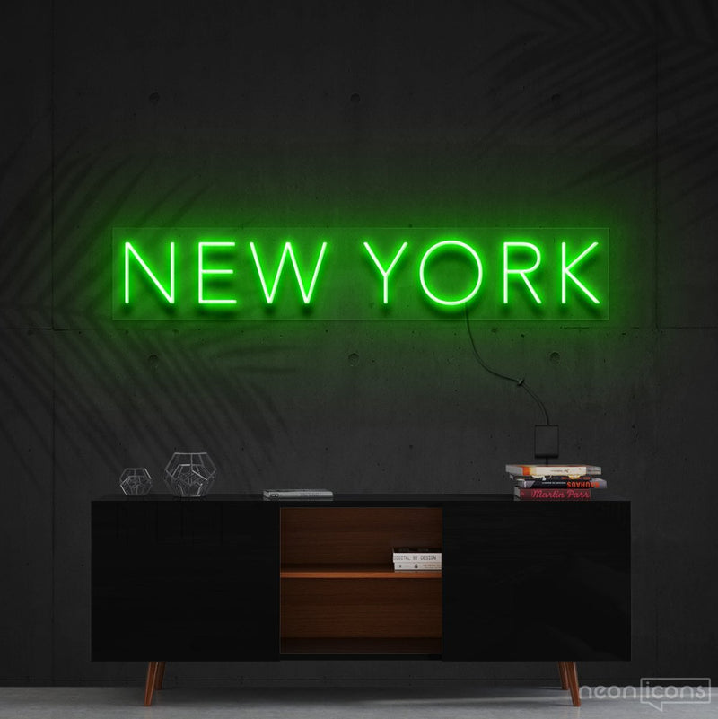 """New York"" Neon Sign 60cm (2ft) / Green / Cut to Shape by Neon Icons"