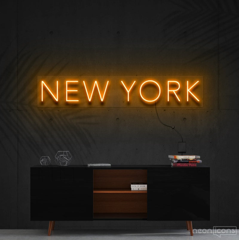 """New York"" Neon Sign 60cm (2ft) / Orange / Cut to Shape by Neon Icons"