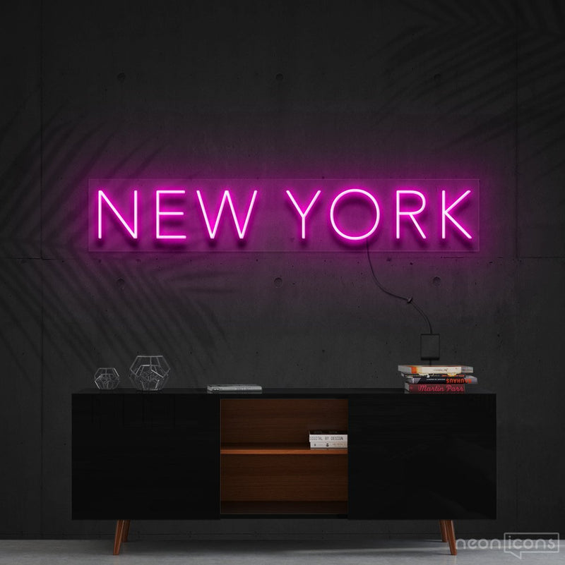 """New York"" Neon Sign 60cm (2ft) / Pink / Cut to Shape by Neon Icons"