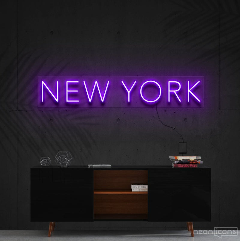"""New York"" Neon Sign 60cm (2ft) / Purple / Cut to Shape by Neon Icons"