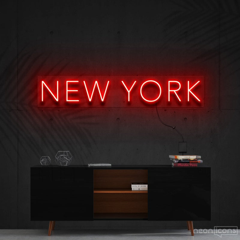 """New York"" Neon Sign 60cm (2ft) / Red / Cut to Shape by Neon Icons"