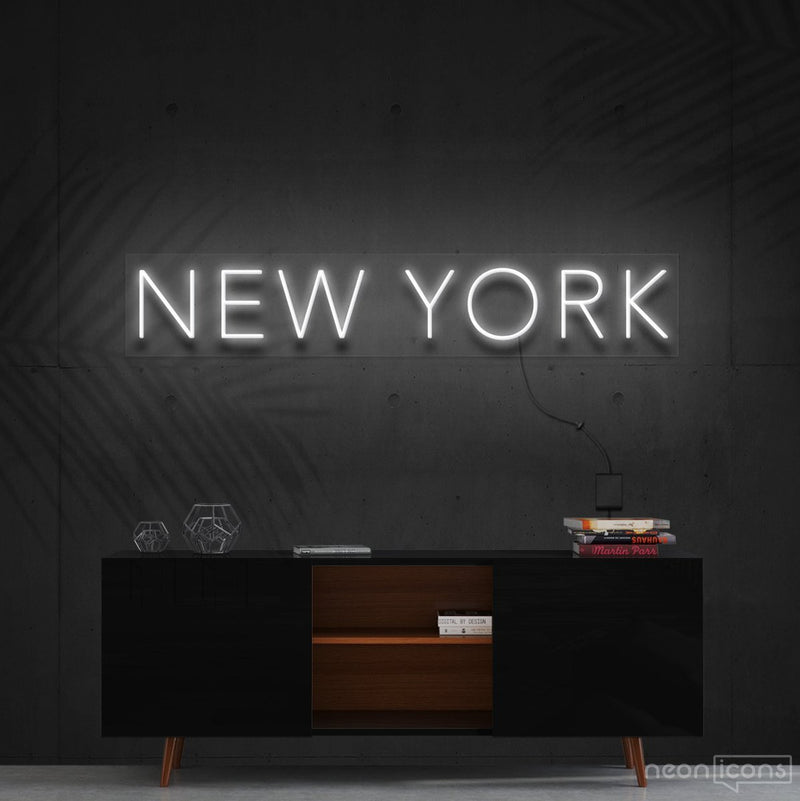 """New York"" Neon Sign 60cm (2ft) / White / Cut to Shape by Neon Icons"