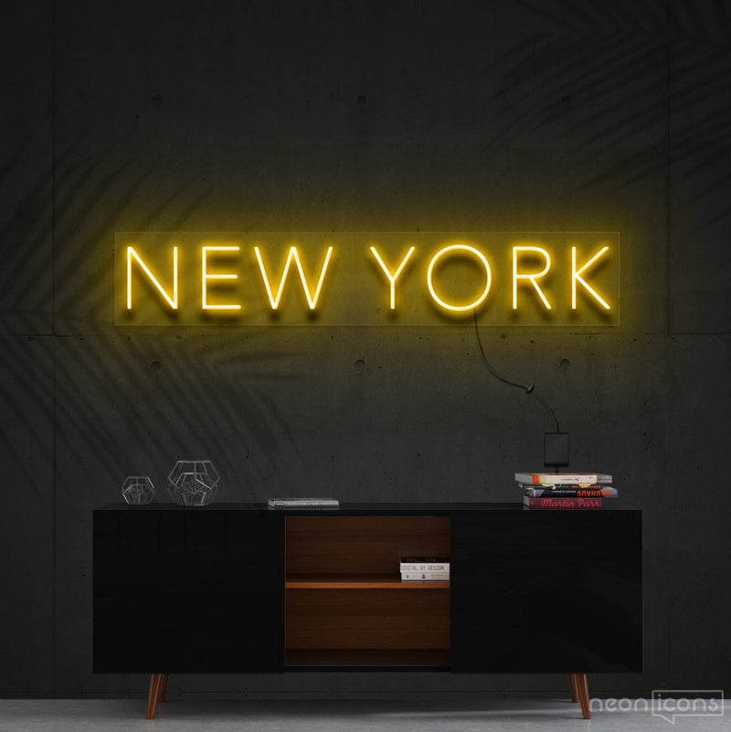 """New York"" Neon Sign 60cm (2ft) / Yellow / Cut to Shape by Neon Icons"