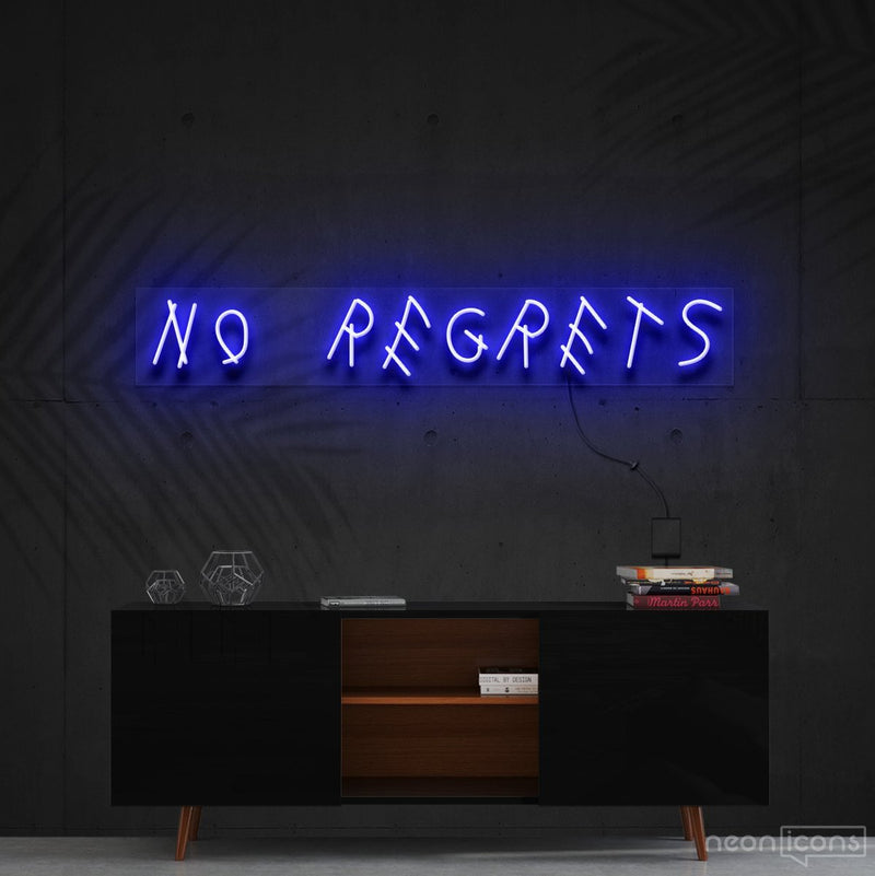 """No Regrets"" Neon Sign 60cm (2ft) / Blue / Cut to Shape by Neon Icons"