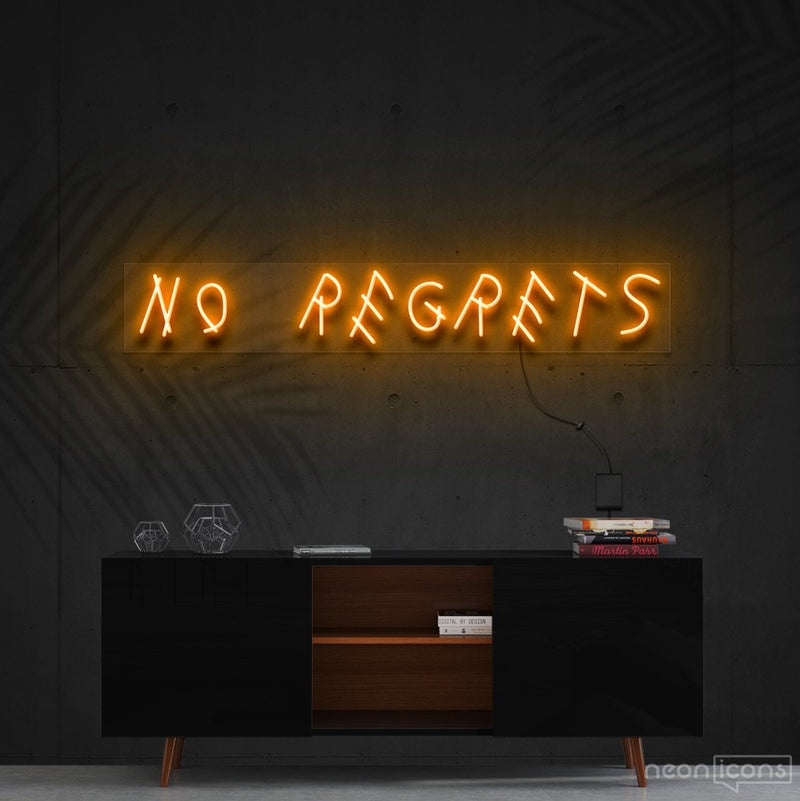 """No Regrets"" Neon Sign 60cm (2ft) / Orange / Cut to Shape by Neon Icons"
