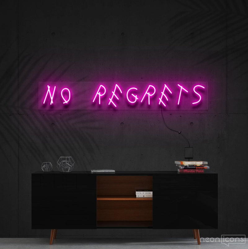 """No Regrets"" Neon Sign 60cm (2ft) / Pink / Cut to Shape by Neon Icons"