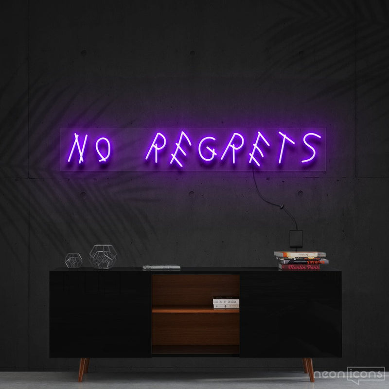 """No Regrets"" Neon Sign 60cm (2ft) / Purple / Cut to Shape by Neon Icons"