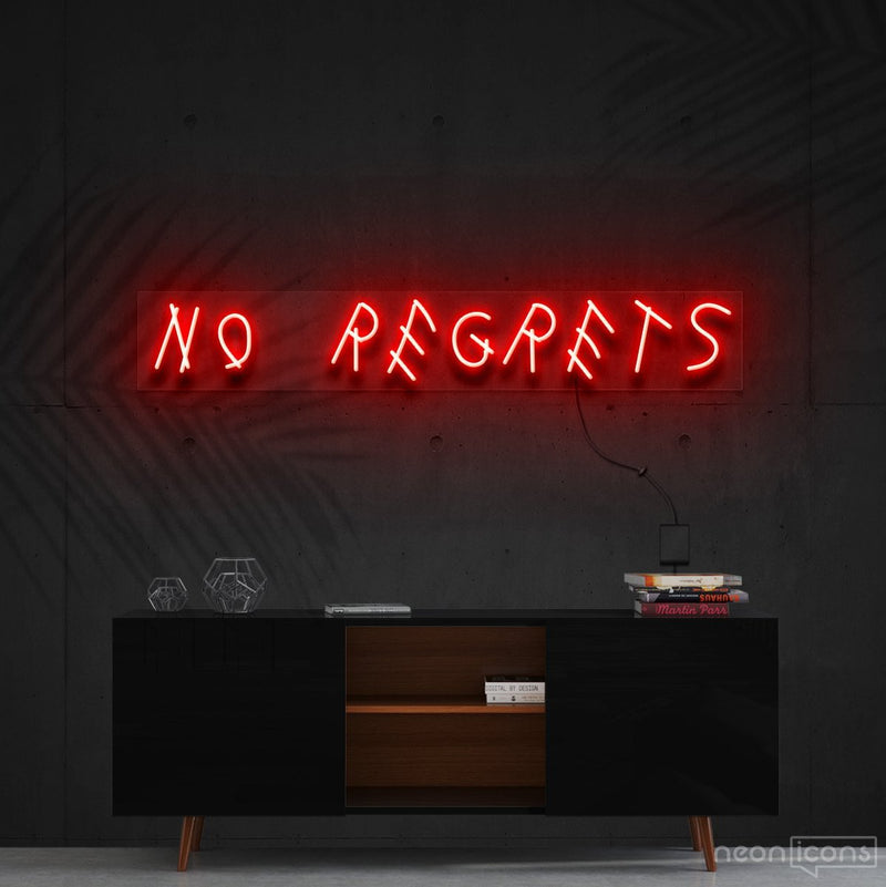 """No Regrets"" Neon Sign 60cm (2ft) / Red / Cut to Shape by Neon Icons"