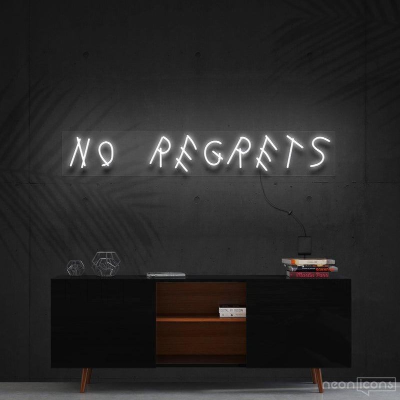 """No Regrets"" Neon Sign 60cm (2ft) / White / Cut to Shape by Neon Icons"