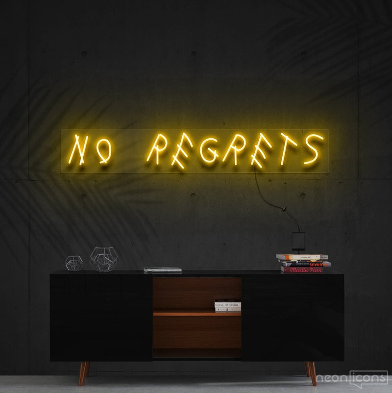 """No Regrets"" Neon Sign 60cm (2ft) / Yellow / Cut to Shape by Neon Icons"