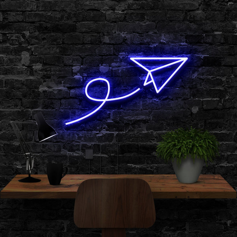 """Paper Plane"" Neon Sign 40cm (1.3ft) / Blue / LED Neon by Neon Icons"