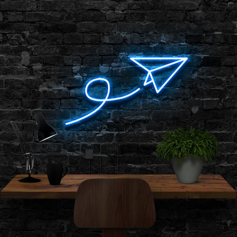 """Paper Plane"" Neon Sign 40cm (1.3ft) / Ice Blue / LED Neon by Neon Icons"