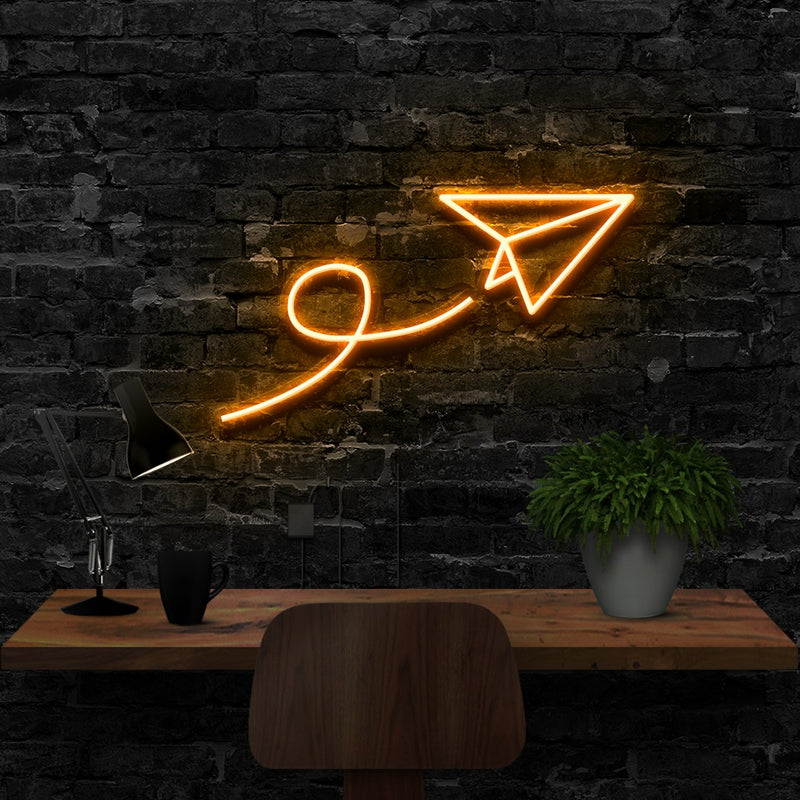 """Paper Plane"" Neon Sign 40cm (1.3ft) / Orange / LED Neon by Neon Icons"