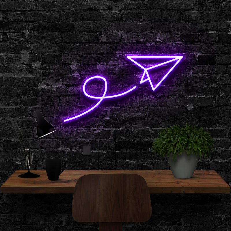 """Paper Plane"" Neon Sign 40cm (1.3ft) / Purple / LED Neon by Neon Icons"