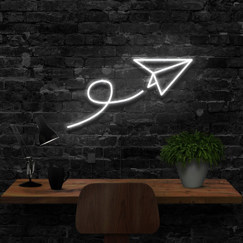 """Paper Plane"" Neon Sign 40cm (1.3ft) / White / LED Neon by Neon Icons"