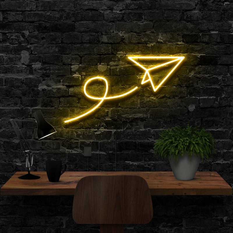 """Paper Plane"" Neon Sign 40cm (1.3ft) / Yellow / LED Neon by Neon Icons"