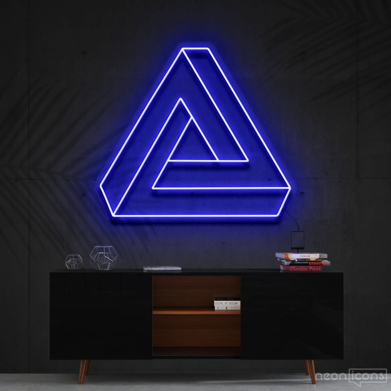 """Penrose Triangle"" Neon Sign 60cm (2ft) / Blue / Cut to Shape by Neon Icons"