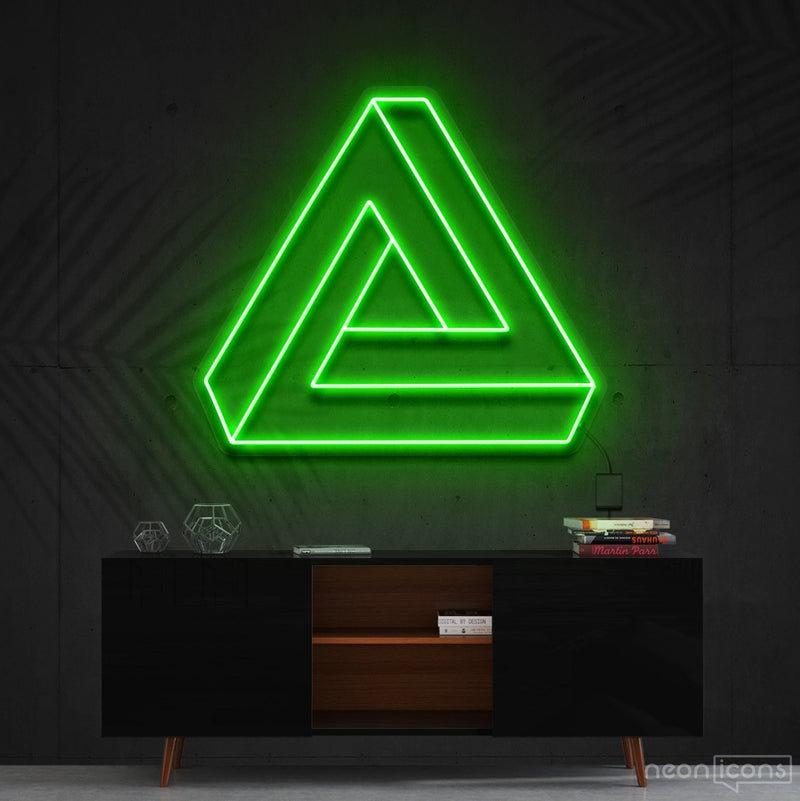 """Penrose Triangle"" Neon Sign 60cm (2ft) / Green / Cut to Shape by Neon Icons"