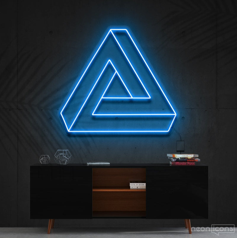 """Penrose Triangle"" Neon Sign 60cm (2ft) / Ice Blue / Cut to Shape by Neon Icons"