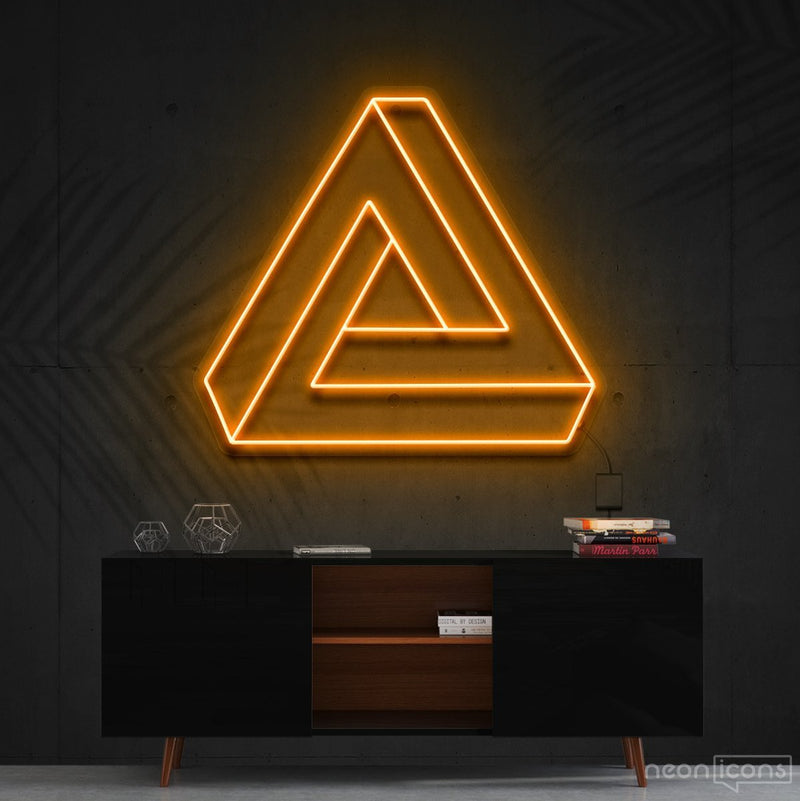 """Penrose Triangle"" Neon Sign 60cm (2ft) / Orange / Cut to Shape by Neon Icons"