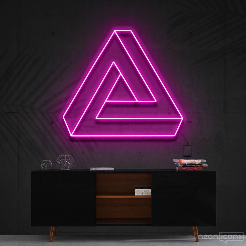 """Penrose Triangle"" Neon Sign 60cm (2ft) / Pink / Cut to Shape by Neon Icons"