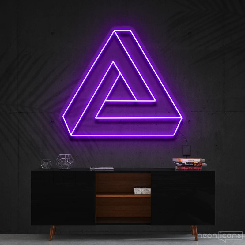 """Penrose Triangle"" Neon Sign 60cm (2ft) / Purple / Cut to Shape by Neon Icons"