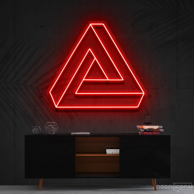 """Penrose Triangle"" Neon Sign 60cm (2ft) / Red / Cut to Shape by Neon Icons"