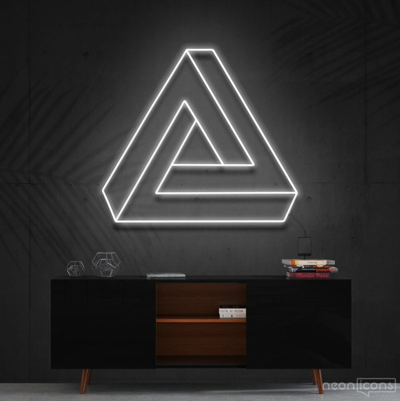 """Penrose Triangle"" Neon Sign 60cm (2ft) / White / Cut to Shape by Neon Icons"