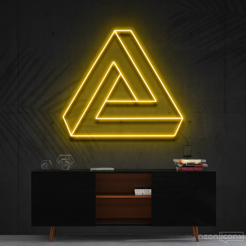 """Penrose Triangle"" Neon Sign 60cm (2ft) / Yellow / Cut to Shape by Neon Icons"