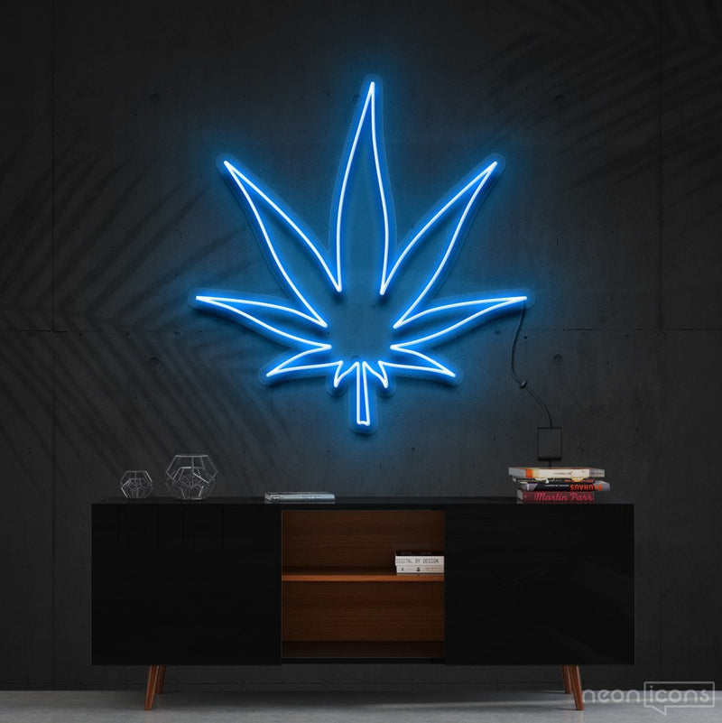 """Plant Based"" Neon Sign 60cm (2ft) / Ice Blue / Cut to Shape by Neon Icons"