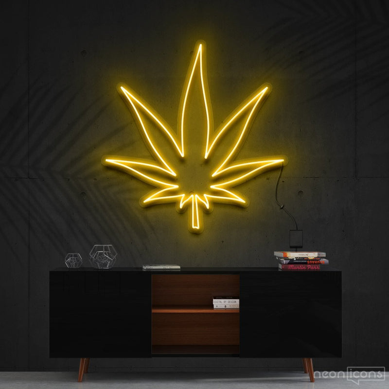 """Plant Based"" Neon Sign 60cm (2ft) / Yellow / Cut to Shape by Neon Icons"