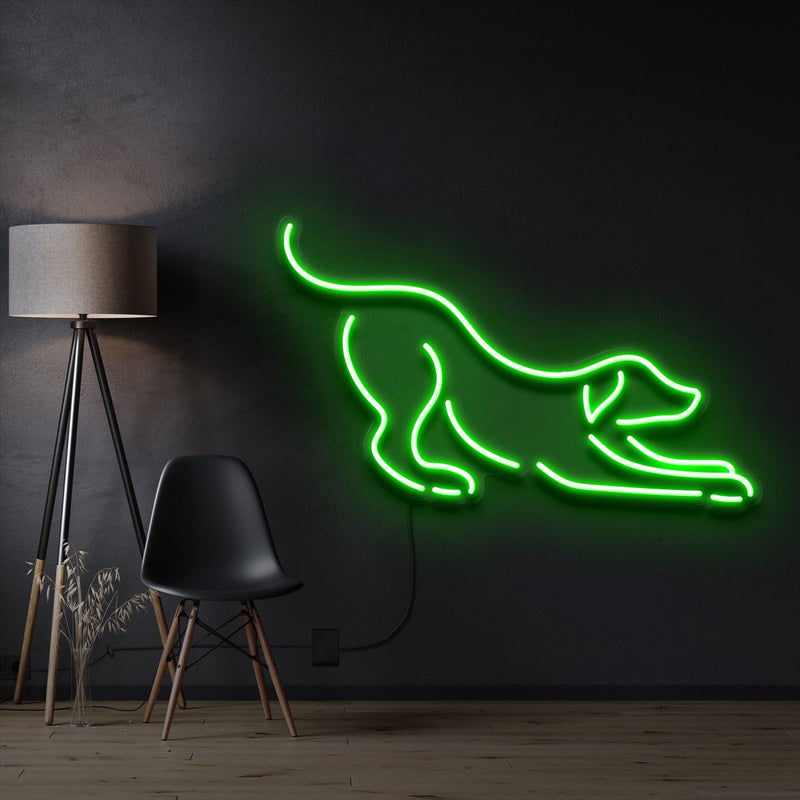 """Playful Dog"" Pet Neon Sign 60cm / Green / Cut to Shape by Neon Icons"