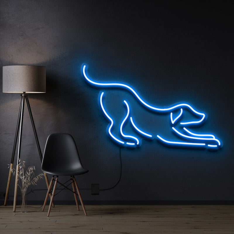 """Playful Dog"" Pet Neon Sign 60cm / Ice Blue / Cut to Shape by Neon Icons"