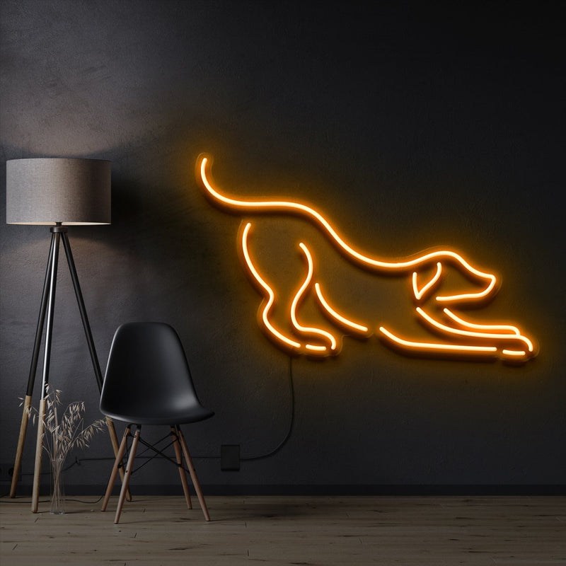 """Playful Dog"" Pet Neon Sign 60cm / Orange / Cut to Shape by Neon Icons"