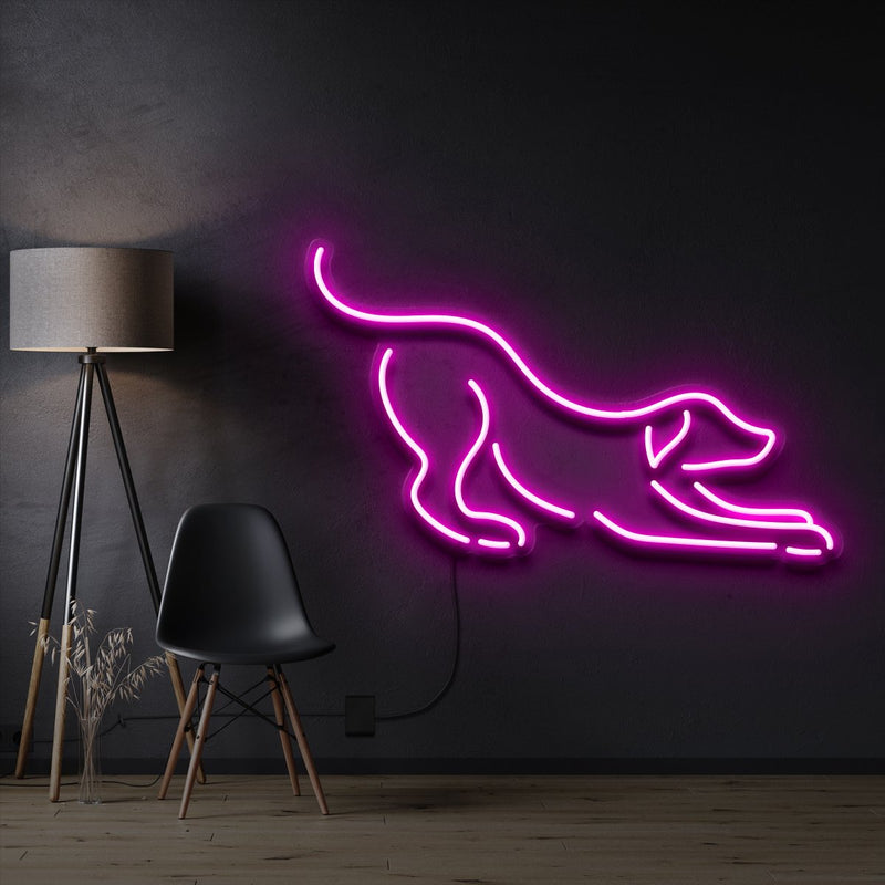"""Playful Dog"" Pet Neon Sign 60cm / Pink / Cut to Shape by Neon Icons"