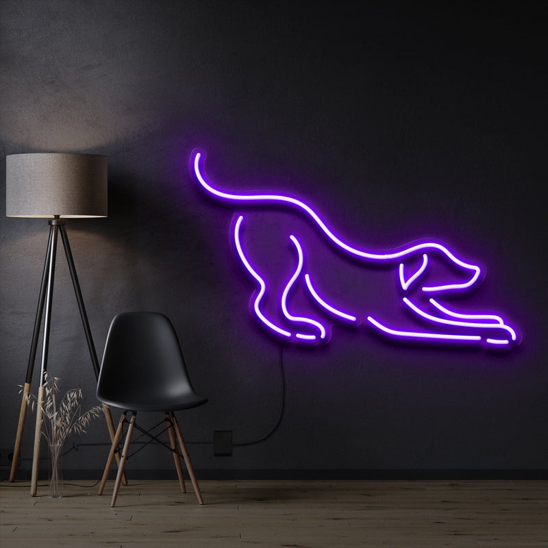 """Playful Dog"" Pet Neon Sign 60cm / Purple / Cut to Shape by Neon Icons"