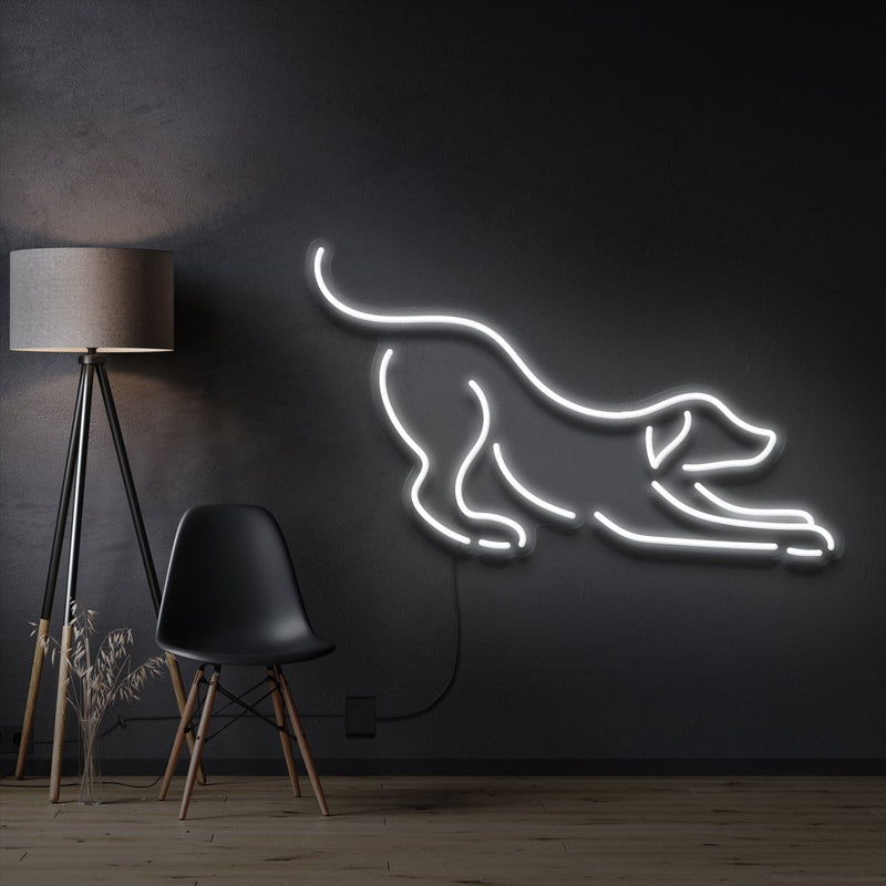 """Playful Dog"" Pet Neon Sign 60cm / White / Cut to Shape by Neon Icons"