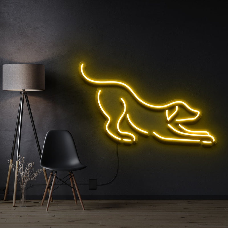 """Playful Dog"" Pet Neon Sign 60cm / Yellow / Cut to Shape by Neon Icons"