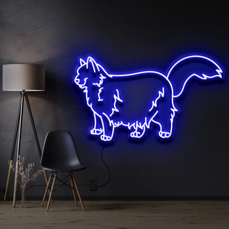 """Ragdoll Cat"" Pet Neon Sign 60cm / Blue / Cut to Shape by Neon Icons"