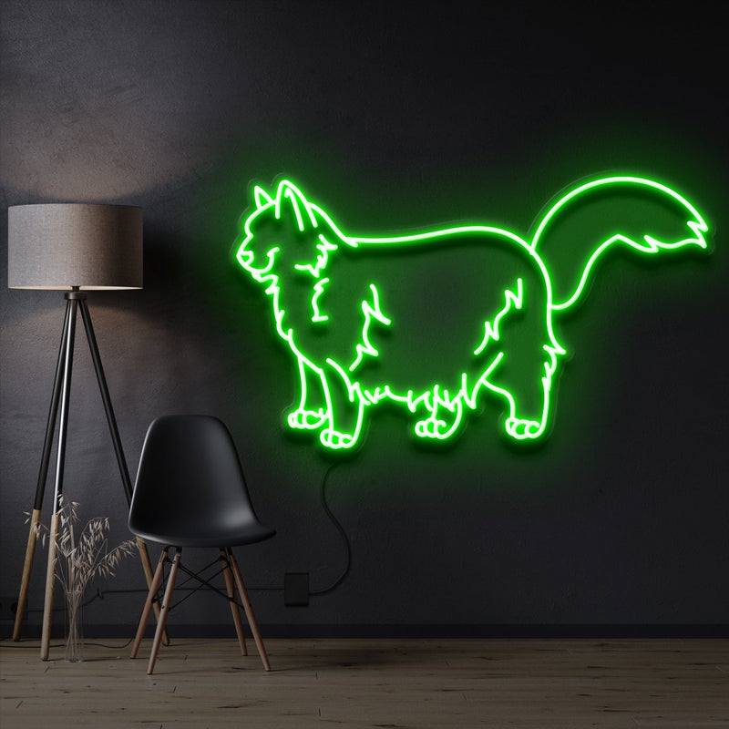 """Ragdoll Cat"" Pet Neon Sign 60cm / Green / Cut to Shape by Neon Icons"