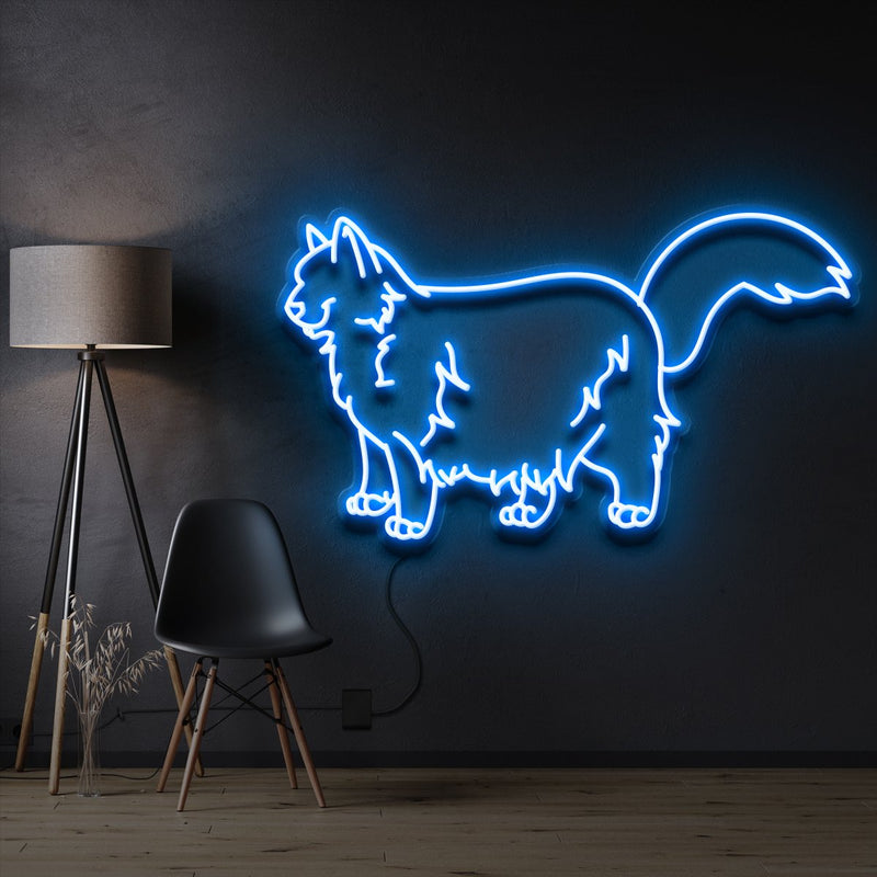"""Ragdoll Cat"" Pet Neon Sign 60cm / Ice Blue / Cut to Shape by Neon Icons"