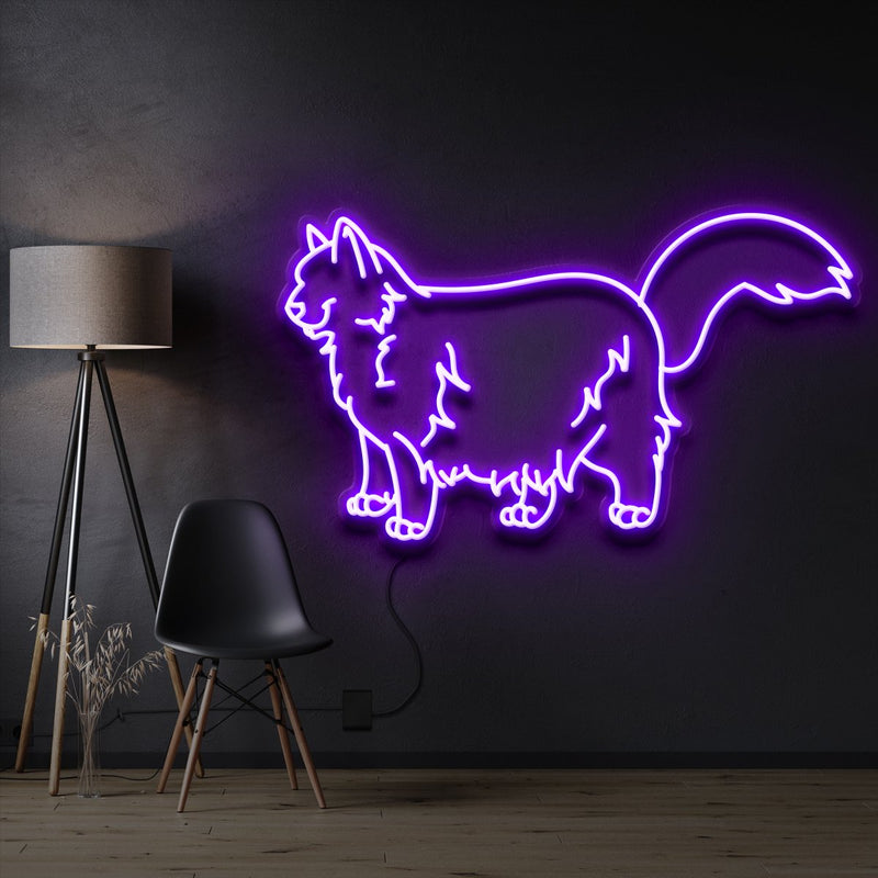 """Ragdoll Cat"" Pet Neon Sign 60cm / Purple / Cut to Shape by Neon Icons"
