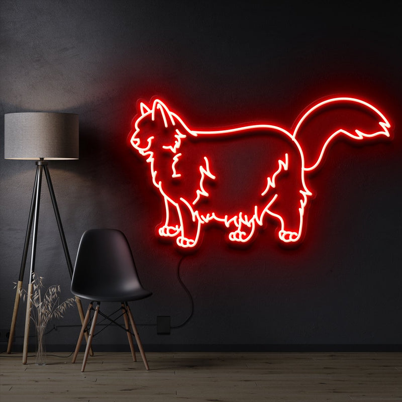 """Ragdoll Cat"" Pet Neon Sign 60cm / Red / Cut to Shape by Neon Icons"