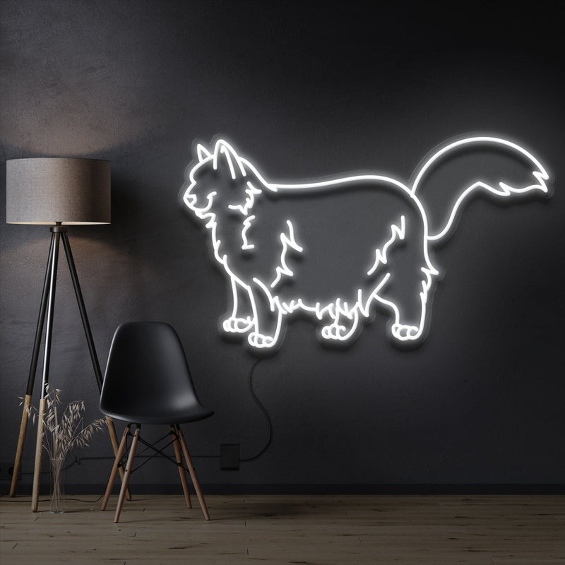 """Ragdoll Cat"" Pet Neon Sign 60cm / White / Cut to Shape by Neon Icons"