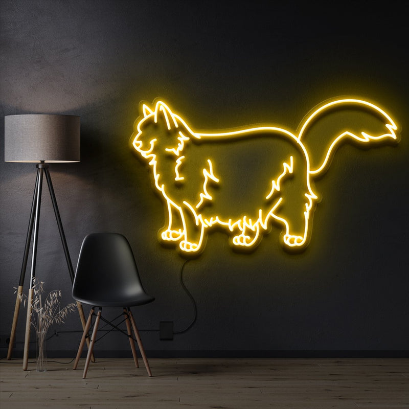 """Ragdoll Cat"" Pet Neon Sign 60cm / Yellow / Cut to Shape by Neon Icons"