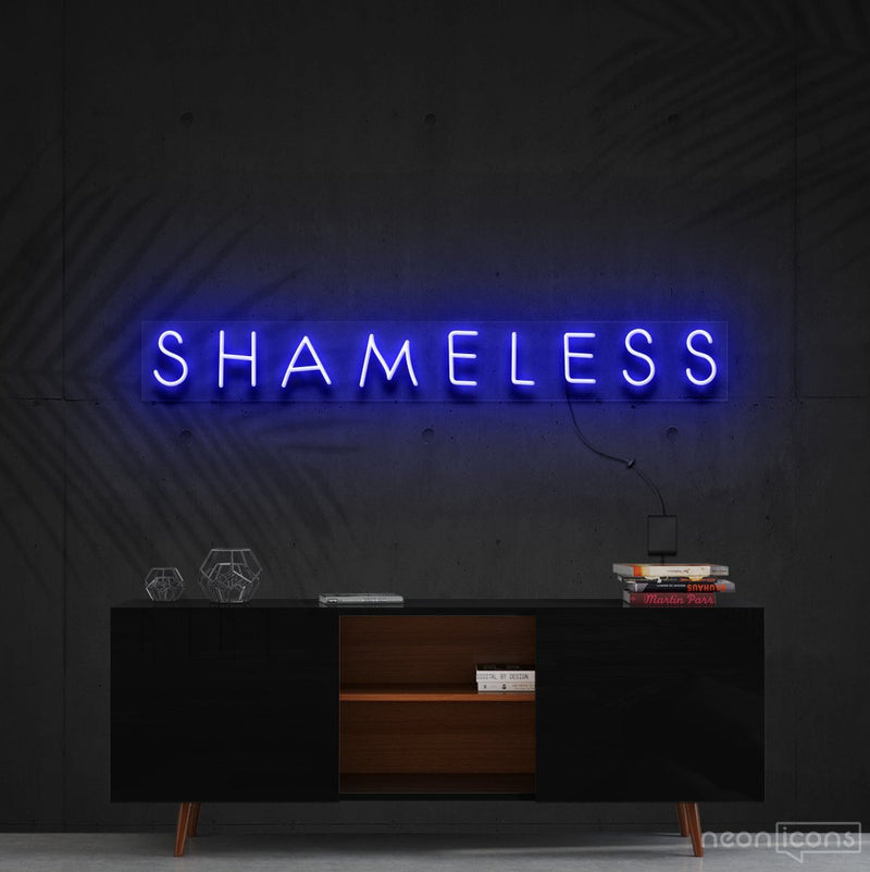 """Shameless"" Neon Sign 60cm (2ft) / Blue / Cut to Shape by Neon Icons"