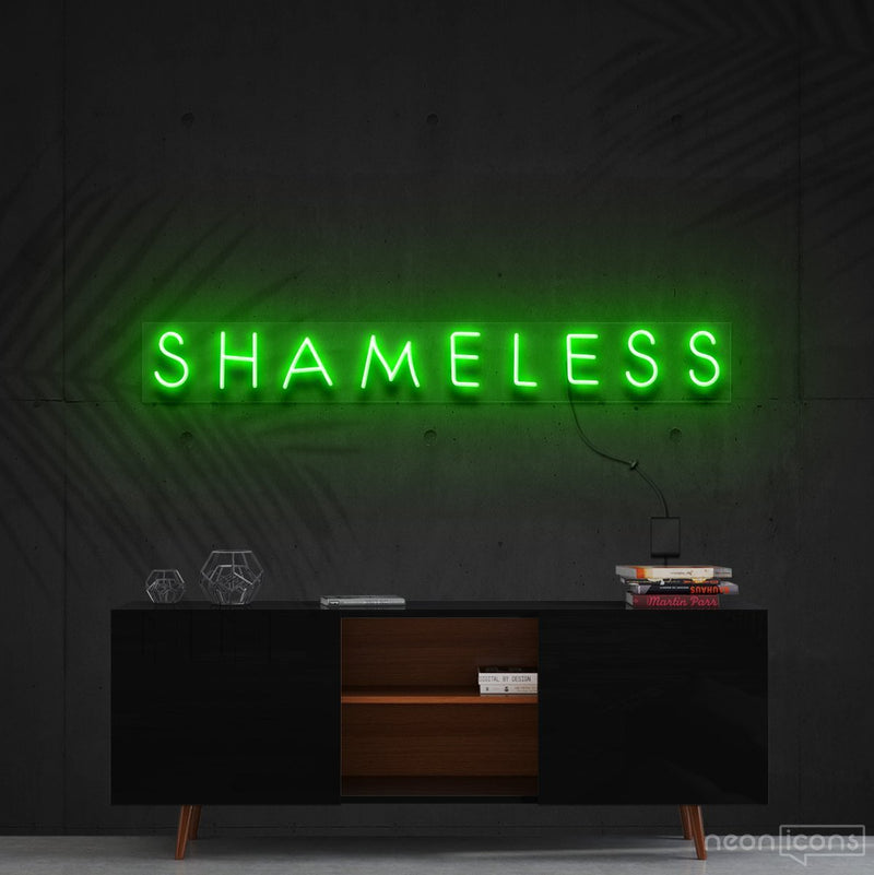 """Shameless"" Neon Sign 60cm (2ft) / Green / Cut to Shape by Neon Icons"