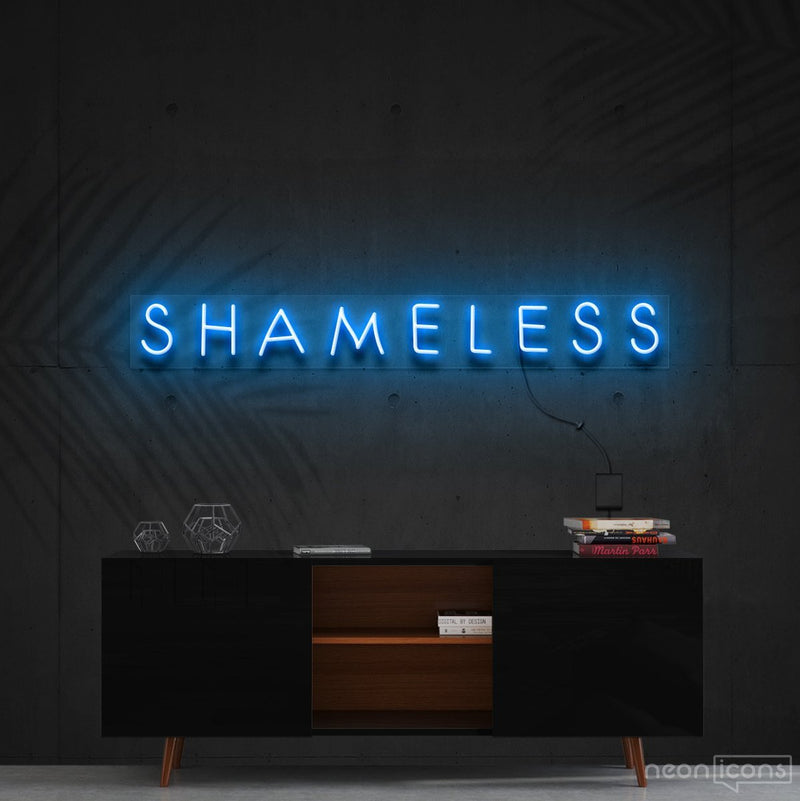 """Shameless"" Neon Sign 60cm (2ft) / Ice Blue / Cut to Shape by Neon Icons"