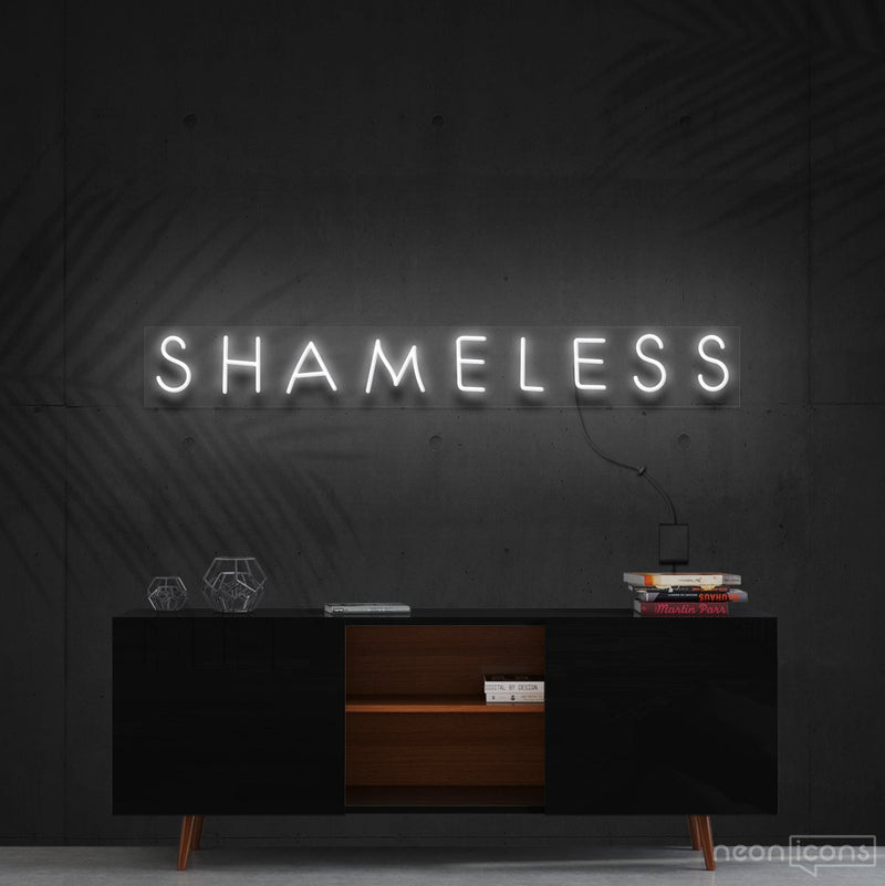 """Shameless"" Neon Sign 60cm (2ft) / White / Cut to Shape by Neon Icons"